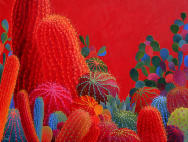 Desert Inspiration,red cactus,saquaro,prickly pear
