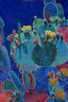 Prickly Pear Blue,cactus,flowers