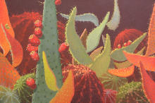 Sunddown #3,cactus painting, brown palette
