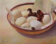 Eggs and Cherries,realsim,still life