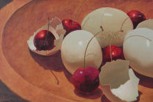 Boiled Eggs,oil,cherries,painting