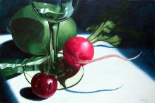 Radish and Cherry,still life, realistic