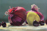Red Onion #3, still life painting, vegetables,fruit