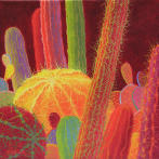 Desert Blooms #57,red cactus,barrel cactus,desert paintings