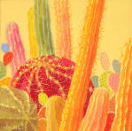 Desert Blooms #47,yellow cactus, rich vibrant color