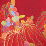 Desert Blooms #49,red,bold,large cactus paintings