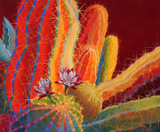 Desert Garden #26,flowered cactus,brilliant colorful paintings